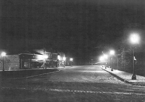 Nightime Clarendon Hills in the 1930s